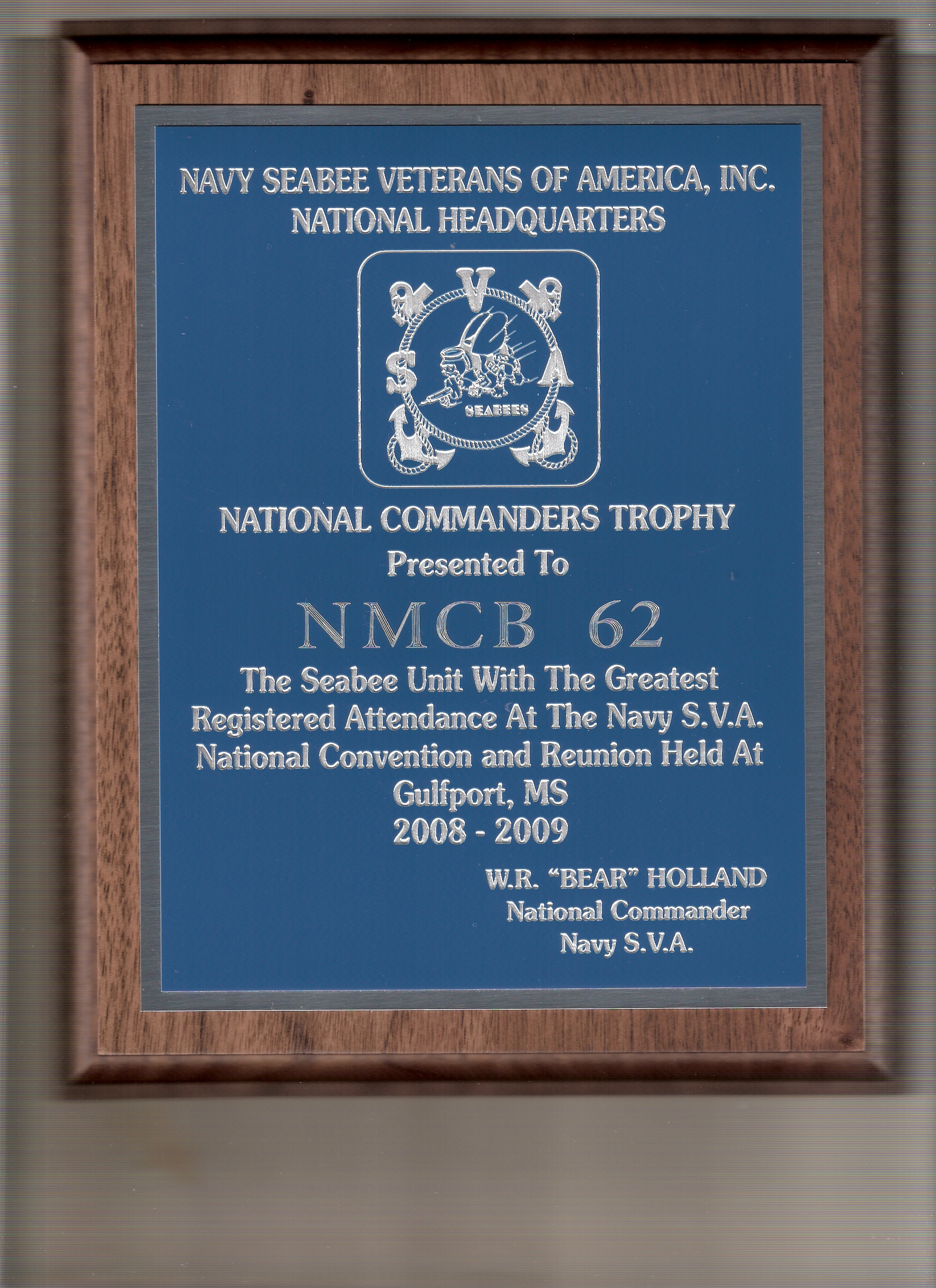National Commander's Trophy for the NMCB 62